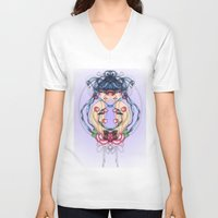 psycho V-neck T-shirts featuring Psycho by chiara costagliola