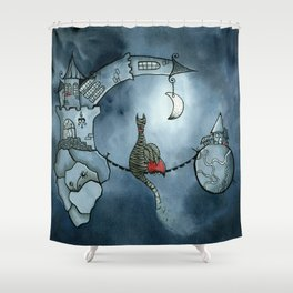 A magic friendship of a girl and a cat between to floating in space worlds Shower Curtain