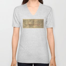 Transcontinental Route of Atlantic & Pacific Railroad Map (1883) Unisex V-Neck