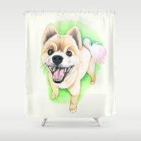 pomeranian Shower Curtains featuring Pomeranian dog  - F.I.P. - Jack-Jack by PaperTigress