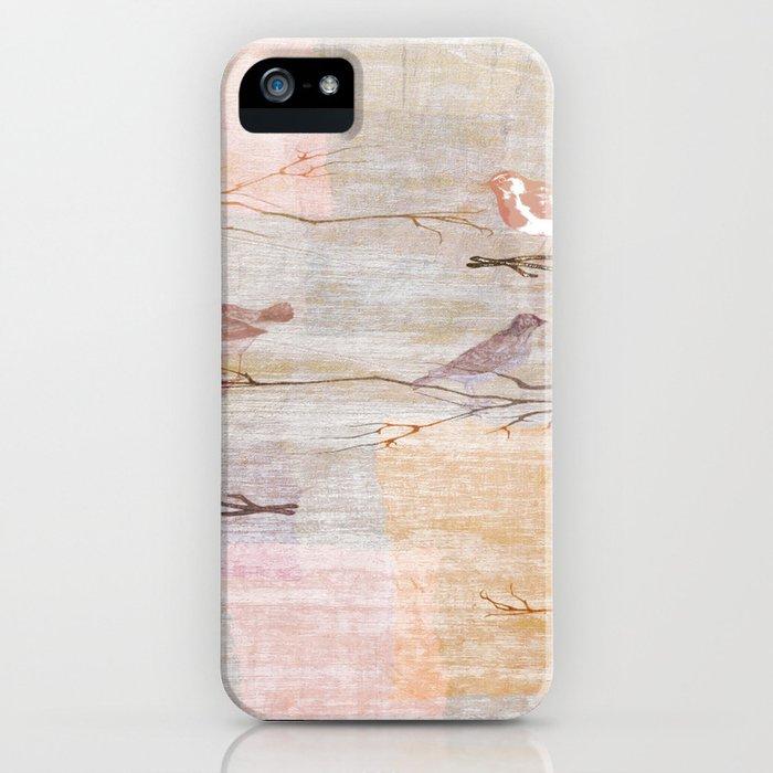 Golden Pink Birds iPhone Case