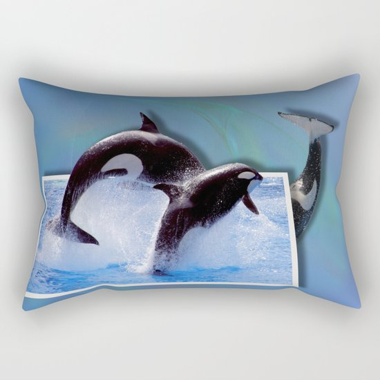 Leaping Orcas Rectangular Pillow