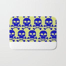 Skull Crazy- blue on green Bath Mat