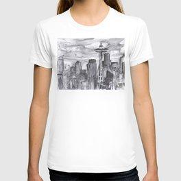 Seattle Skyline Watercolor Space Needle Washington PNW T-shirt