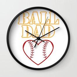 Ball Dad Love Softball Baseball Fathers Day Gifts Wall Clock