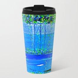 Trees Skinny Blue Green Travel Mug