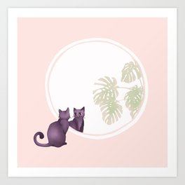 Kitty in the Mirror Art Print