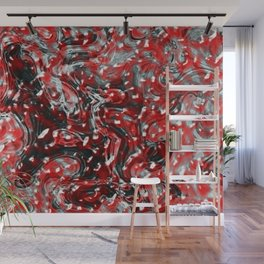 Red and Black Abstract Liquid Gore Pattern Wall Mural