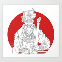 wizard Art Prints featuring Wizard by Cody Barnhill