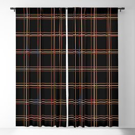 ARREST multi colour lines plaid pattern on black Blackout Curtain