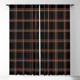ARREST multi colour lines plaid pattern on black Blackout Curtain