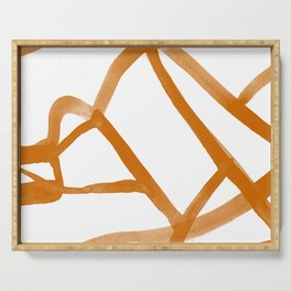 Abstract Map orange Nr. 2 Serving Tray