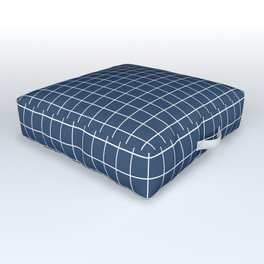 Grid Pattern - navy and white - more colors Outdoor Floor Cushion