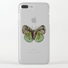 Green steampunk butterfly Clear iPhone Case