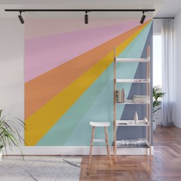 Colorful Retro Abstract Geometric Diagonal Stripes  Wall Mural