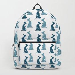 Greyhound sitting pattern blue Backpack