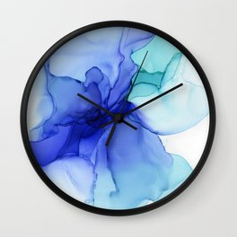 Blue Floral Abstract Ink Wall Clock