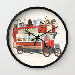 the big red party bus Wall Clock