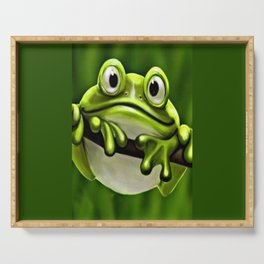 Adorable Funny Cute Green Frog In Tree Serving Tray
