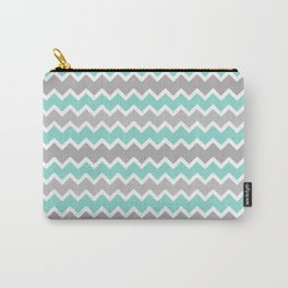 Aqua Turquoise Blue and Gray Chevron Carry-All Pouch