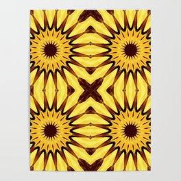 Sunflowers Yellow & Brown Pinwheel Flowers Poster