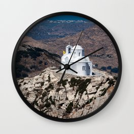 Lonely church in Greek mountains Wall Clock
