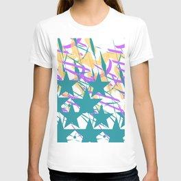 Turquoise Stars & Pastel Streemers T-shirt