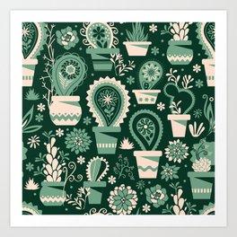 Paisley succulents Art Print