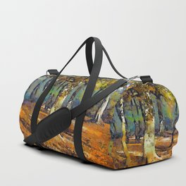 Drama in the Forest and light spills around the trees. Duffle Bag