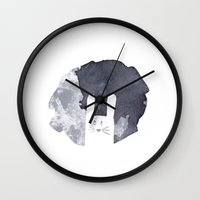 bunny Wall Clocks featuring Moon Bunny by atmosphere alley