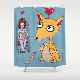 hygge = a warm chihuahua / chihuahuas dog in your lap Shower Curtain