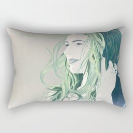 off in the distance, she dreams, in green. Rectangular Pillow