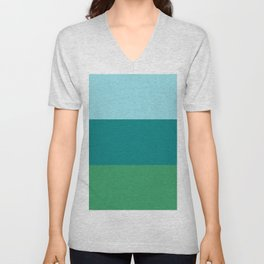 Tanager Turquoise, Teal Blue and Kelly Green Horizontal Color Blocks Unisex V-Neck