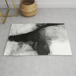"Black and White Textured Abstract Painting ""Delve 1"" Rug"