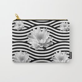 Black & White Water Lilies Water Garden Carry-All Pouch