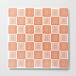 Mid Century Modern Geometric Checker 821 Orange Metal Print