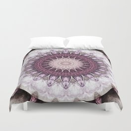 Mandala grey to purple Duvet Cover