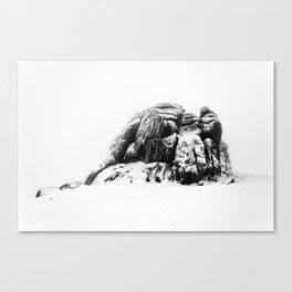 Snowy Haytor in the mist Canvas Print