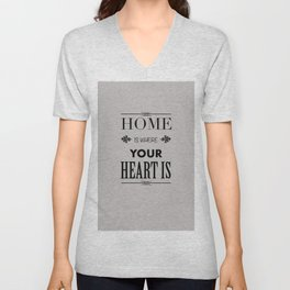 Home Heart grey - Typography Unisex V-Neck