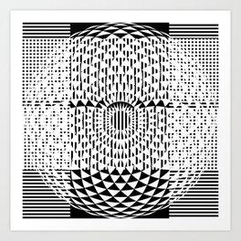 Black White Geometricals With Mandala Art Print