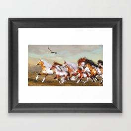 Wild Horses Herd Framed Art Print