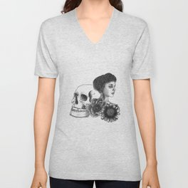 The Girl With A Skull And Flowers Unisex V-Neck