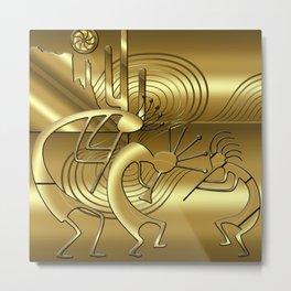 Magical Kokopelli in Gold Metal Print