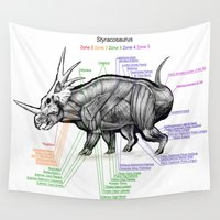 muscle Wall Tapestries featuring Styracosaurus Muscle Study by Rushelle Kucala Art
