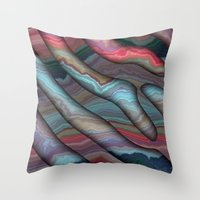 agate Throw Pillows featuring Agate by RingWaveArt