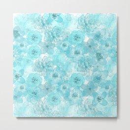 Turquoise aqua flower lace pattern Metal Print