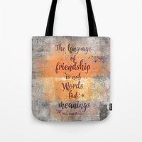 friendship Tote Bags featuring Friendship by LebensART