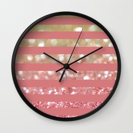 Champagne Tango Stripes Wall Clock