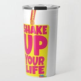 """Shake Up Your Life: Go Vegan"" from VegaFTW™ (Strawberry Banana) Travel Mug"