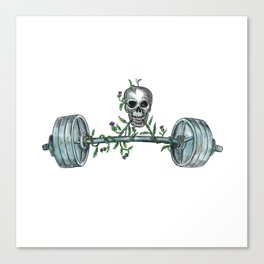 Skull Lifting Barbell Thistle Tattoo Canvas Print